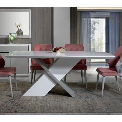 Mesa de Jantar Veneza - Branco/Cinza