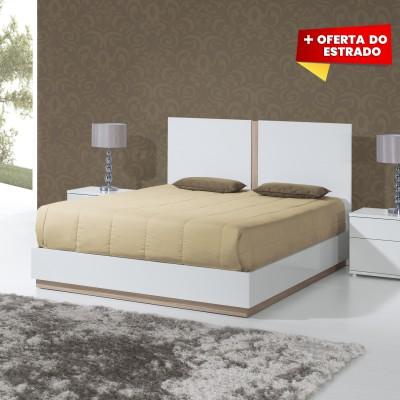 Cama de Casal Chiado - Branco/Carvalho 200x150