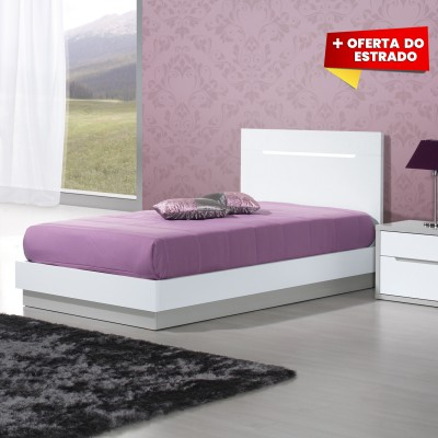 Cama Individual Viena - Cinza/Branco 200x110