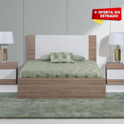 Cama de Casal Madrid - Nogal/Branco 200x150