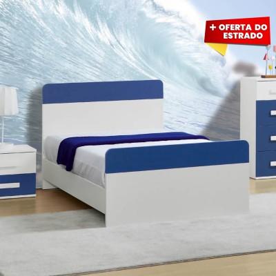 Cama Individual Play - Azul/Branco 195x110