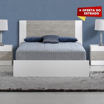 Cama de Casal Madrid - Branco/Stone 200x150
